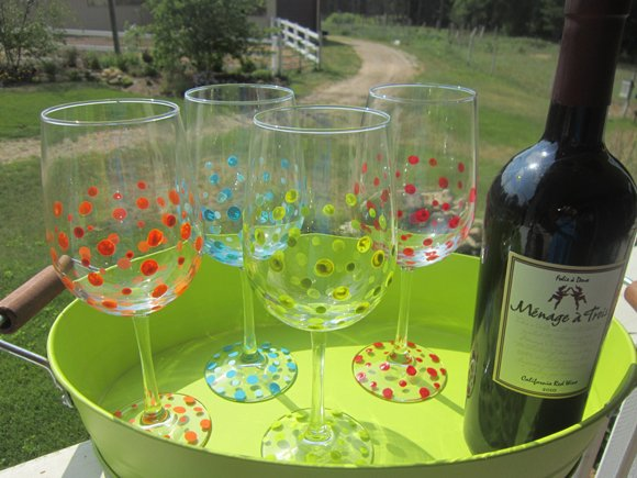 Finished+project DIY Hand Painted Wine Glasses