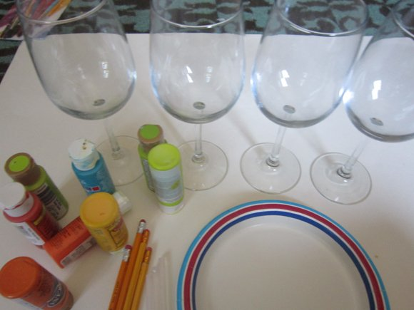 supplies DIY Hand Painted Wine Glasses
