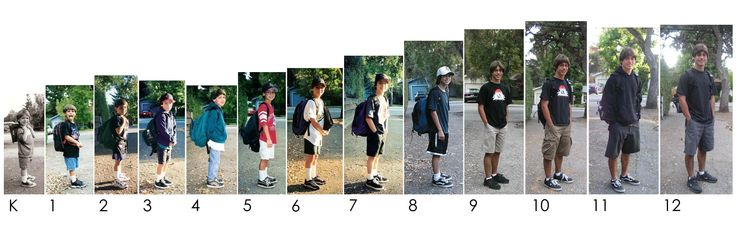 Child's photos, on the first day of school every year