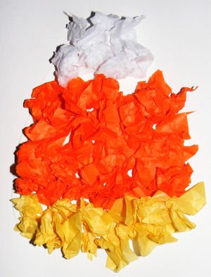 Candy Corn Tissue Paper Collage