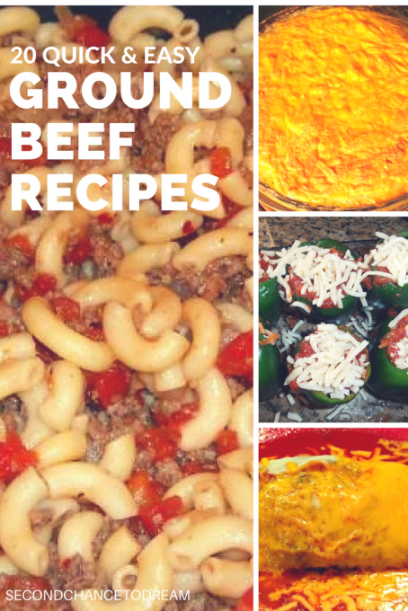 Second Chance to Dream: 20 Quick & Easy Ground Beef Recipes that are perfect for those nights you can't think of anything to make. #recipes
