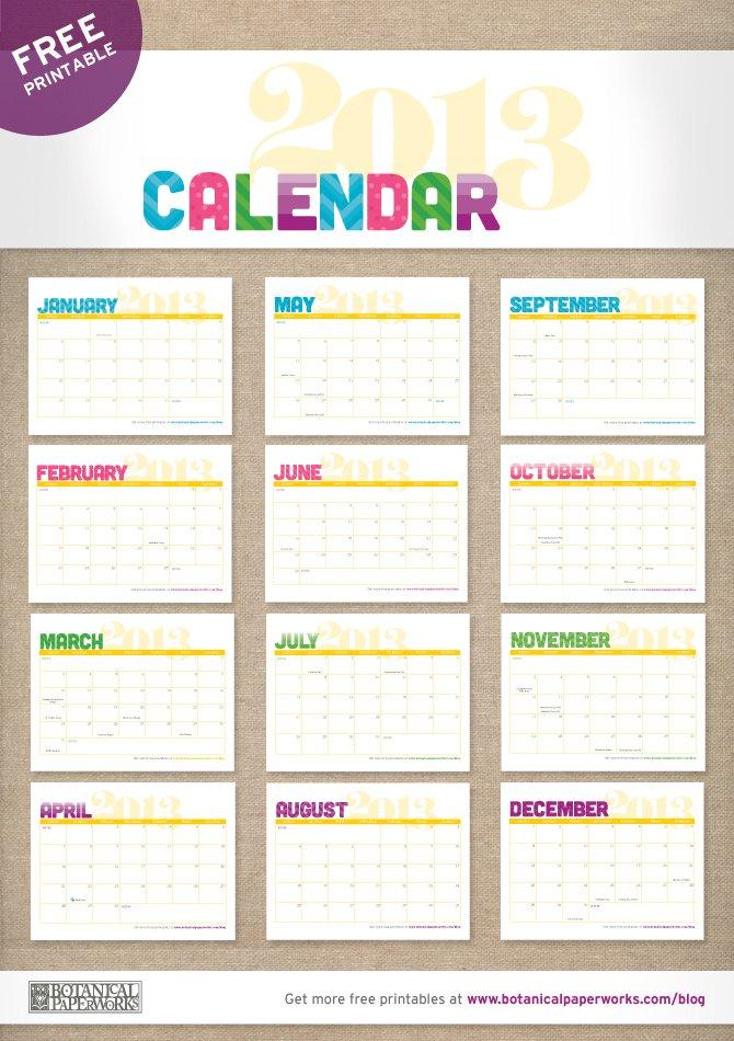 Botanical PaperWorks 12 Weeks of Christmas - Free Printable 2013 Calendar