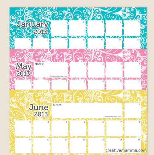 creativemamma 2013cal1 {10} Printable 2013  Calendars