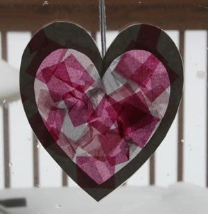 tissue paper heart craft 15 Kids Valentines Day Crafts
