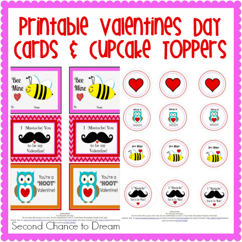 Second Chance to Dream: Printable Valentines day Cards & Cupcake Toppers