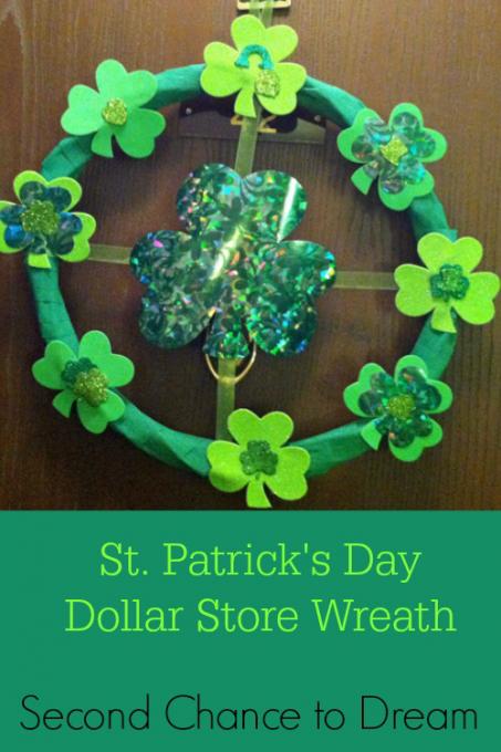 St Patricks' Day Dollar Store Wreath