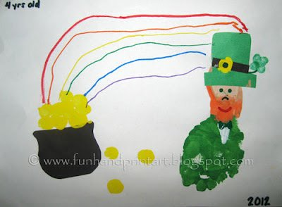footprint+leprechaun+amp+fingerprint+pot+of+gold 15 Kids St. Patricks Day Crafts