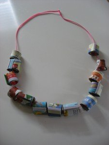 recycled bead necklace 007 225x300 15 Kids Earth Day Crafts