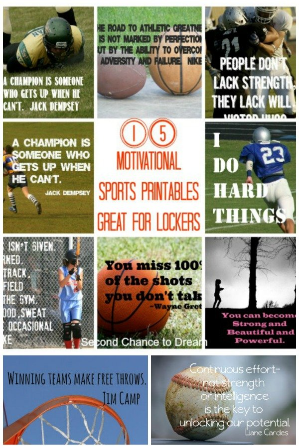 Second Chance to Dream: 15 Motivational Sports Printables #backtoschool #motivation#lockers
