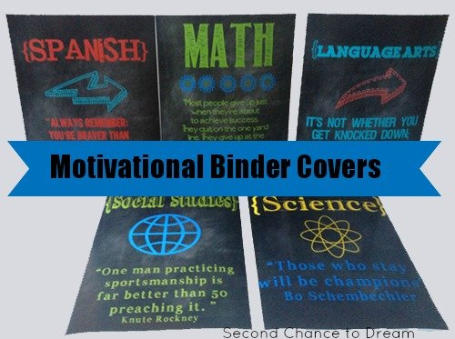 Second Chance to Dream; Printable Motivational Binder Covers