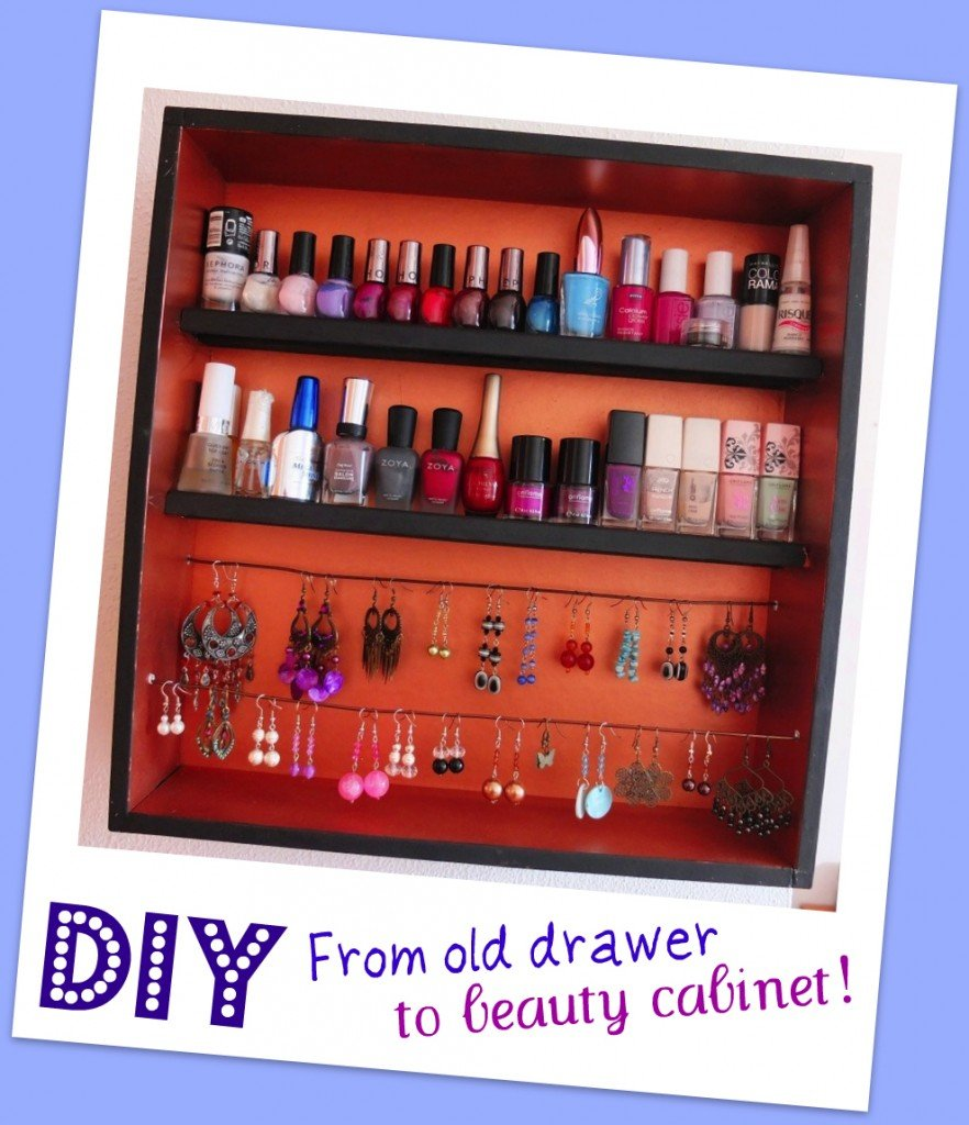 DIY FROM OLD DRAWER TO BEAUTY CABINET  by: Something on Everything