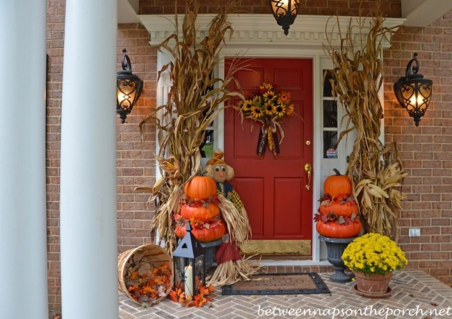 Autumn Porch Decorated with Topiaries