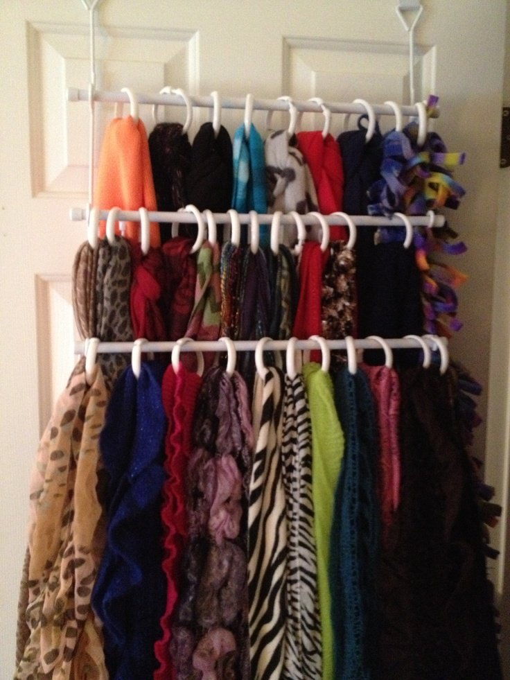 My scarf organization thanks to two pins that I liked--towel bar and shower curtain rings!  Makes me smile!