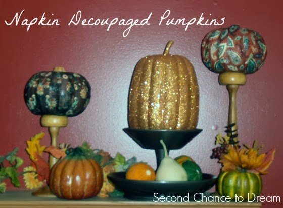 Second Chance to Dream: Napkin Decoupaged Pumpkins