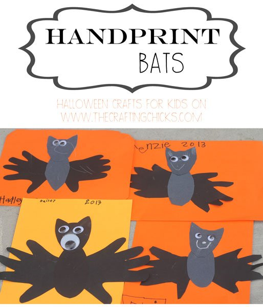 handprint bats for kids 15 Kids Halloween Crafts 2
