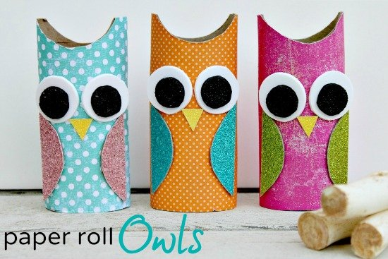 toilet paper roll owls 15 Kids Halloween Crafts 2