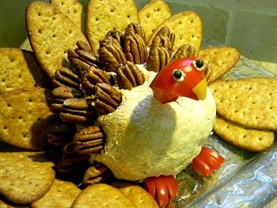 Cheese ball turkey for Thanksgiving appetizer I could so see Grandma Sunny making this. God rest her soul