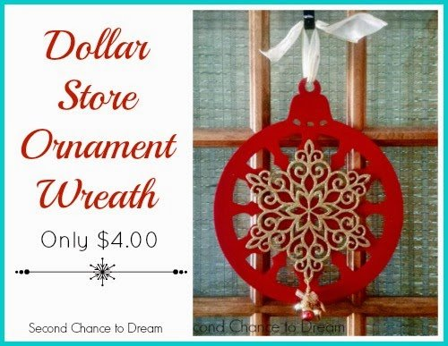 Second Chance to Dream Dollar Store Ornament Wreath only $4.00 #dollarstore #diychristmasdecor