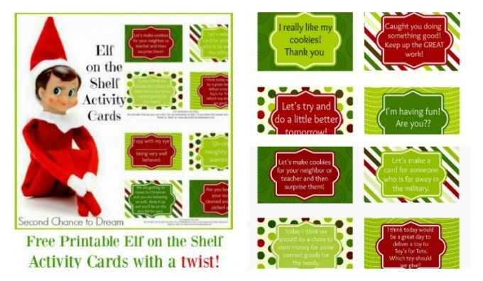 Second Chance to Dream: Elf on the Shelf Activity Cards with a twist. #ElfontheShelf #Christmas #traditions