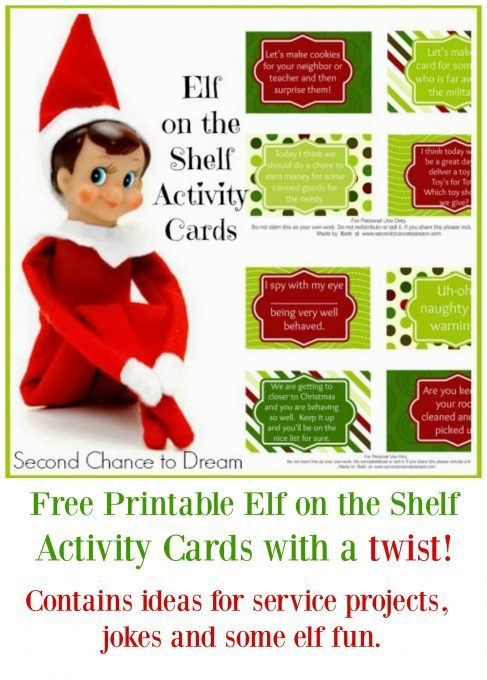 Second Chance to Dream: Elf on the Shelf Activity Cards with a twist. #ElfontheShelf #Christmas