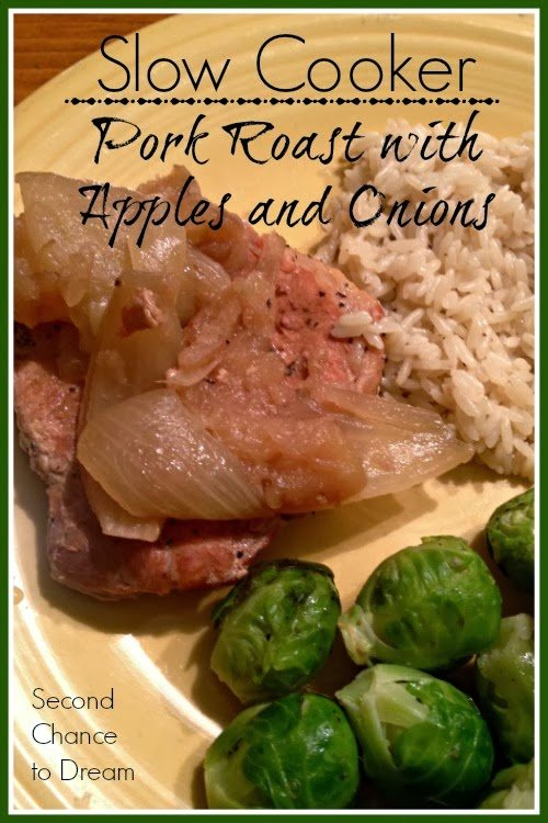 Second Chance to Dream Slow Cooker Pork Roast with Apple & Onions #eMeals