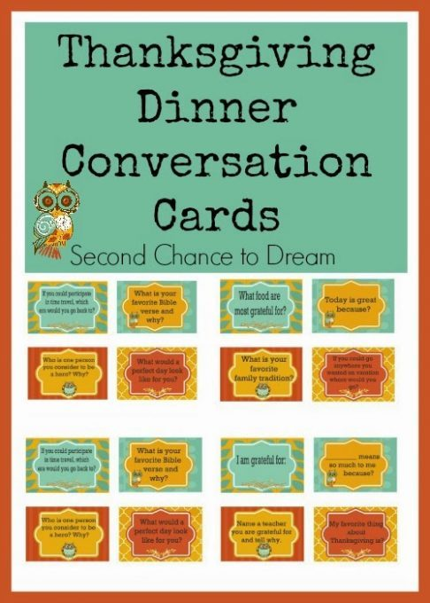 Second Chance to Dream: Thanksgiving Dinner Conversation Cards