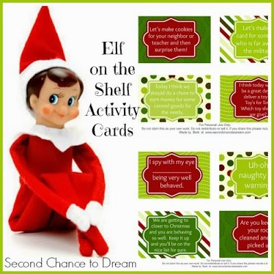 printable activity cards for Elf on the Shelf