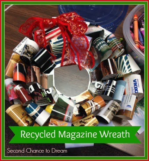 Second Chance to Dream Recycled Magazine Wreath- Kids craft