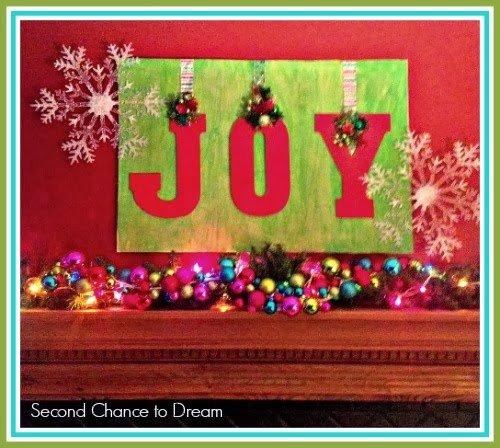 Second Chance to Dream DIY Christmas Joy Mantel #Christmasdecor
