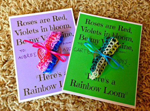 Addys+Finished+Cards Rainbow Loom Valentine Cards + Free Printable Cards
