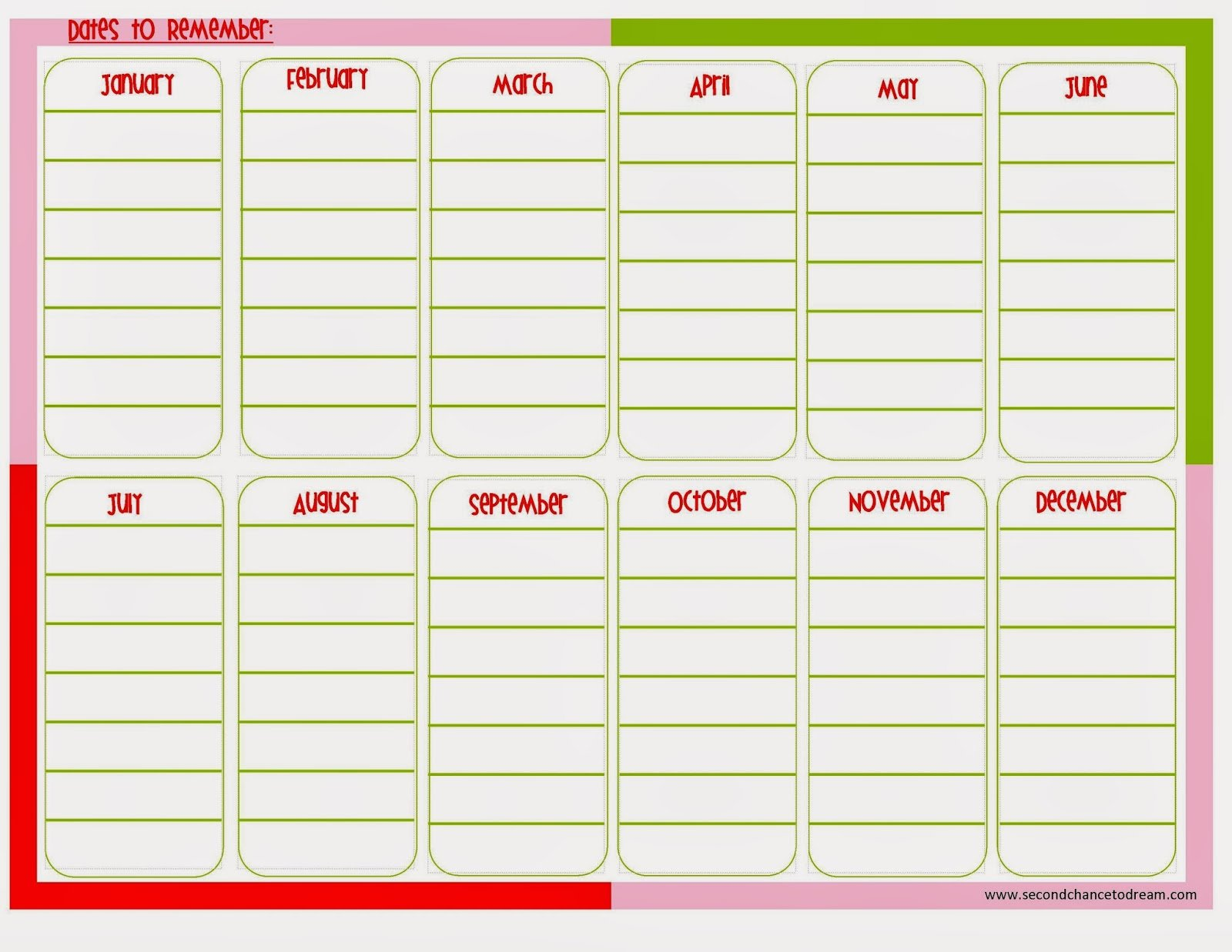 Dates+to+Remember {Free Printable Planner in Two Colors}
