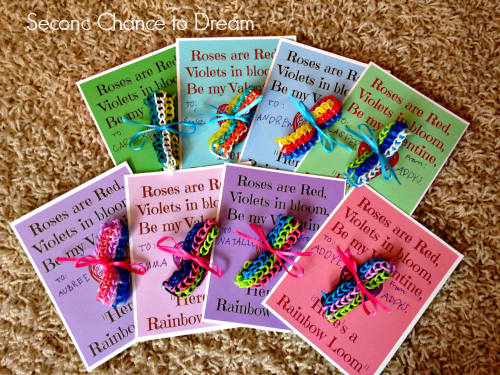 Finished+cards Rainbow Loom Valentine Cards + Free Printable Cards