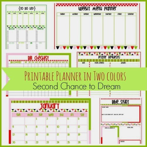 Second Chance to Dream Free Printable Planner in two colors #freeprintables #calendar #menuplanning