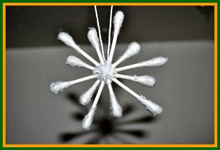 Snowflake Crafts for Kids - QTip Snowflake