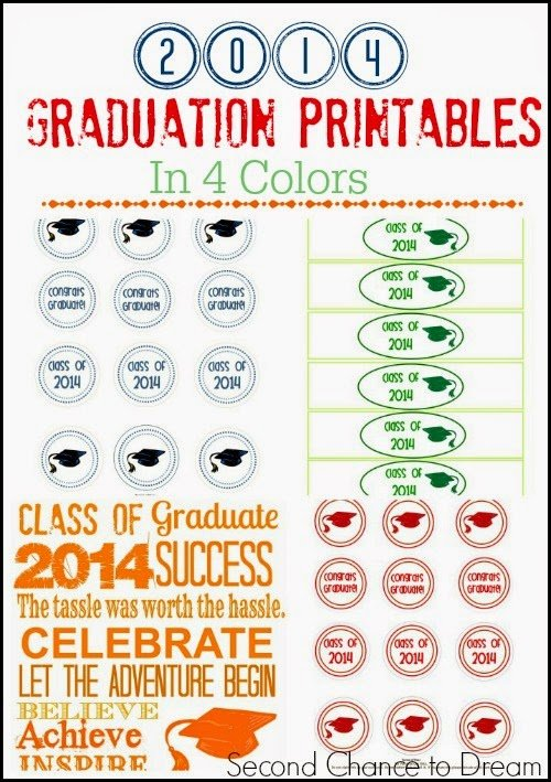 Second Chance to Dream: 2014 Free Graduation Printables in 4 Colors