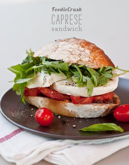 FoodieCrush Caprese Tomato and Mozzarella Sandwich