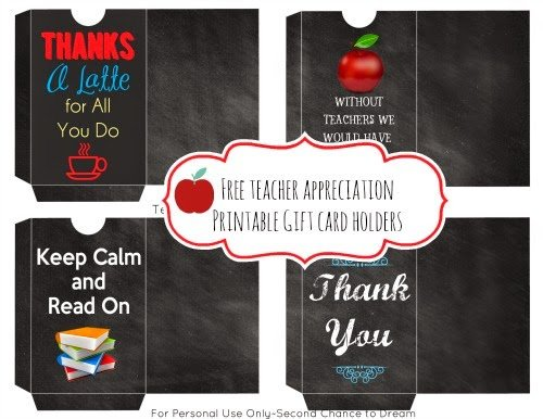Second Chance to Dream: Teacher Appreciation Gift Card Holders #teacherappreciation