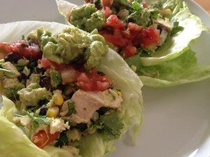 PUGTATOs Southwest Chicken Lettuce Wraps: rotisserie chicken, avocado, lime, black beans, corn, red pepper, guacamole, pico de gallo.  Healthy, quick and easy dinner!