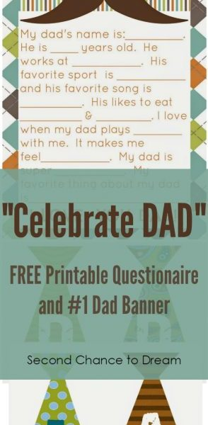 Second Chance to Dream: Celebrate Dad with these FREE Printables #FathersDay #Dad