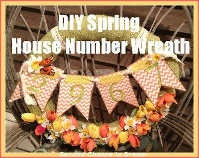 DIY+Spring+House+Number+Wreath {Featured On}