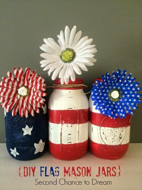 Second Chance to Dream: DIY Flag Mason Jars #4thofjuly #masonjars #diy