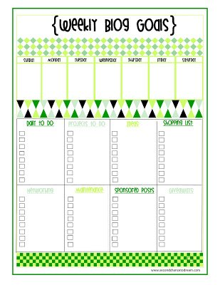 Weekly+Blog+Goals {Printables}