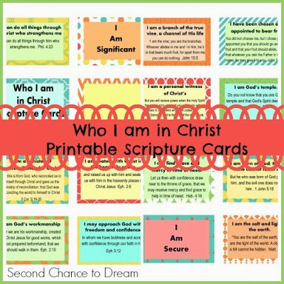 Second Chance to Dream Who I am in Christ Scripture Cards  #scripturecards