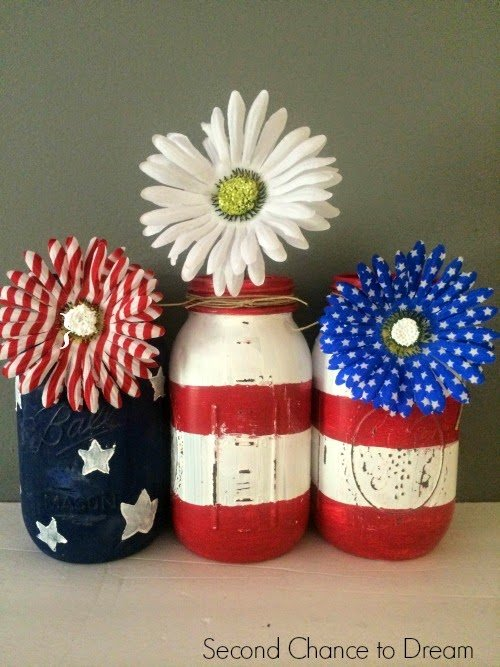 finished jars DIY Flag Mason Jars