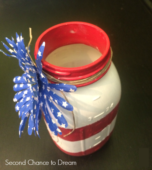 side view DIY Flag Mason Jars