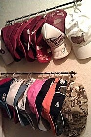 Organize your hats. Diy by hanging a towel bar, or any bar, on wall. Add hooks. Hang up your hats so that each one is in clear view. Optimum space organization ideas for a clean & happy home.