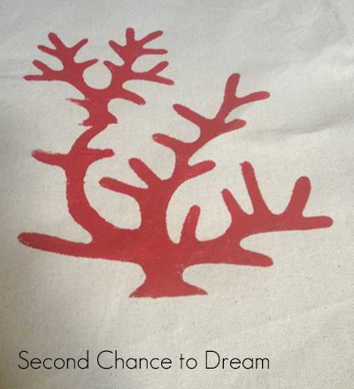 coral stencil painted pillow