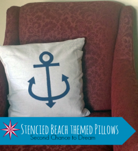 Freezer Paper Stenciled Beach Themed Pillows