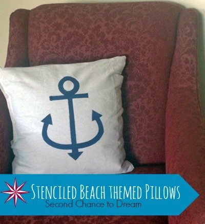 Second Chance to Dream: Stenciled Beach Themed Pillows #beachdecor #nauticaldecor