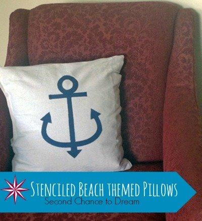 Second Chance to Dream: Stenciled Beach Themed Pillows #beachdecor #nauticaldecor
